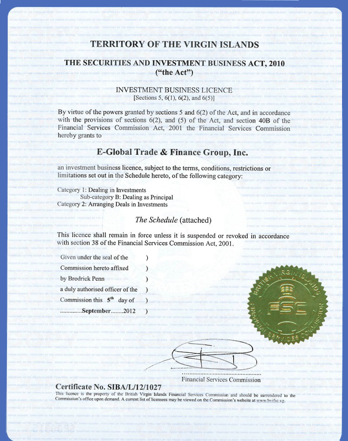 Investment Business Licence